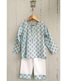 Frangipani Kids Printed Full Sleeves Nightwear Set - Blue & White