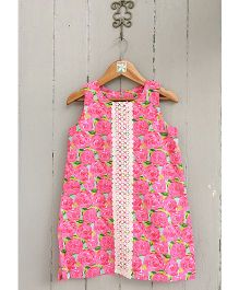 Frangipani Kids Rose Print Dress - Pink