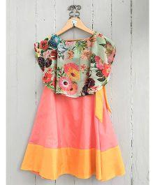 Frangipani Kids Flower Print Blouse & Skirt Set - Multicolour