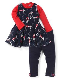 Peppermint T-Shirt, Frock And Leggings Set Cats Print - Red Blue