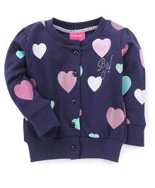 Button Noses Full Sleeves Sweater Heart Print - Navy