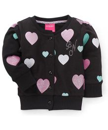 Button Noses Full Sleeves Sweater Heart Print - Black