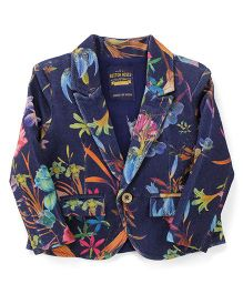 Button Noses Party Wear Jacket Floral Print - Navy