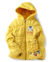 Peridot Full Sleeves Hooded Jacket With Cherry And Girl Print - Yellow