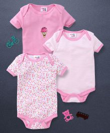Kidi Wav 3 Piece Body Suits - Baby Pink