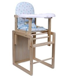 2 In 1 Wooden High Chair & Study Table Heart Print - Sky Blue & Brown
