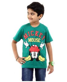 Disney T-Shirt Half Sleeves Mickey Mouse Print - Green