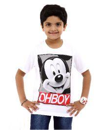 Disney Half Sleeves T-Shirt Mickey Mouse Oh Boy Print - White