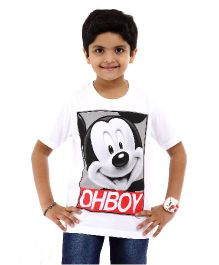 Disney Half Sleeves T-Shirt Mickey Mouse Oh Boy Print - White