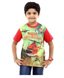 Disney Half Sleeves T-Shirt Fire & Rescue Print - Red