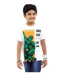 Marvel Half Sleeves T-Shirt Hulk Print - White