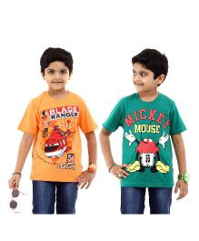 Disney Half Sleeves T-Shirt Pack of 2 Planes And Mickey Mouse Print - Green Orange