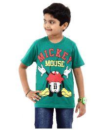 Disney T-Shirt Half Sleeves Mickey Mouse Print - Green