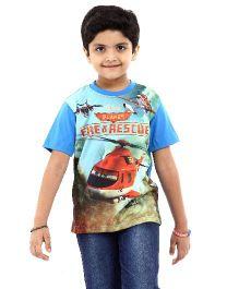 Disney Half Sleeves T-Shirt Fire & Rescue Print - Blue