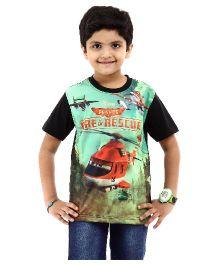 Disney Half Sleeves T-Shirt Fire & Rescue Print - Black