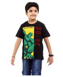 Marvel Half Sleeves T-Shirt Hulk Print - Black