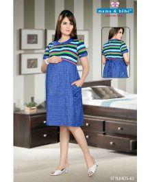 Mama & Bebe Half Sleeves Conceal Feeding Dress - Blue