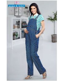 Mama & Bebe Sleeveless Maternity Dungaree - Blue