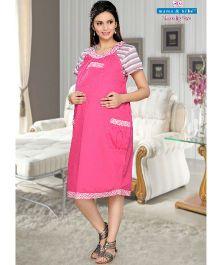 Mama & Bebe Sleeveless Maternity Pinafore Dress - Pink