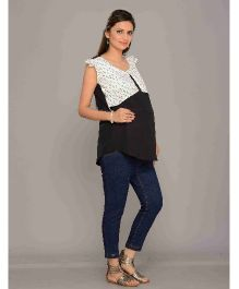 Mama & Bebe Flutter Sleeves Conceal Feeding Blouse - Black And White