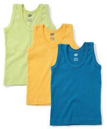 Zero Sleeveless Vest Set Of 3 - Green Blue Yellow