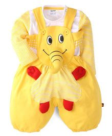 Wow Clothes Elephant Applique Dungaree With T-Shirt - Yellow