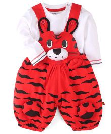 WOW Clothes Tiger Print Dungaree With T-Shirt - Red & White