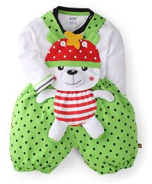 WOW Clothes Bear Print Dungaree With T-Shirt - Green & White