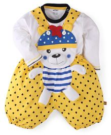 WOW Clothes Bear Print Dungaree With T-Shirt - Yellow & White