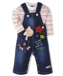 WOW Clothes Multi Patched Dungaree Style Rompers With T-Shirt - Blue & White