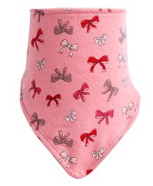 NeedyBee Bib In Triangular Shape With Bow Print - Pink