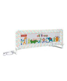 Fisher Price Bed Rail Guard Animal Print - White
