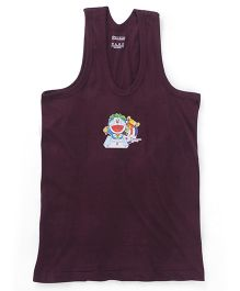 Doraemon Sleeveless Printed Vest - Chocolate Brown