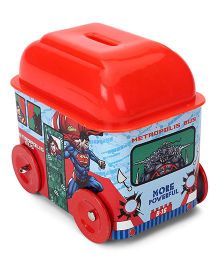DC Comics Superman Bus Shaped Coin Bank - Red