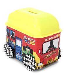 Hot Wheels Bus Shaped Coin Bank - Red Yellow