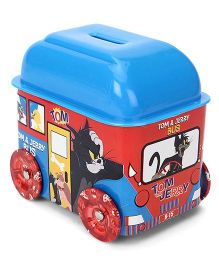 Tom And Jerry Bus Shaped Coin Bank - Red Blue