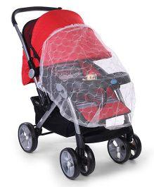 Baby Giraffe Print Stroller Cum Pram With Mosquito Net - Red