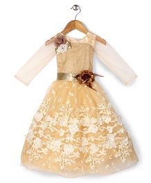 Bluebell Party Gown Floral Applique - Biege