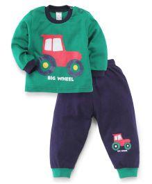 Pink Rabbit Full Sleeves T-Shirt and Leggings Big Wheel Print - Navy Blue & Green
