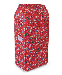 Luvely Multipurpose Almirah Teddy Bear Print - Red