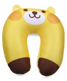 Bear Face Neck Support Pillow - Yellow And Brown