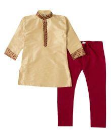 Bunchi Colorama Kurta Pyjama Set - Beige & Maroon