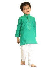 Bunchi Embroidered Handloom Kurta Pyjama Set - Green & White