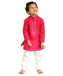 Bunchi Embroidered Handloom Kurta Pyjama Set - Pink & White
