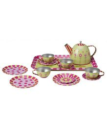 Alex Toys Tin Tea Set Green Pink White - 16 Pieces