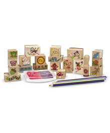 Melissa And Doug Wooden Fairy Garden Stamp Set Pink Purple - 20 Stamps