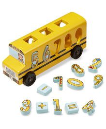 Melissa And Doug Wooden Number Matching Math Bus - Yellow
