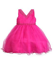 Party Princess Party Wear Dress With Pearls - Hot Pink