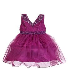 Party Princess Dress With Pearls - Purple