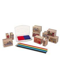 Melissa & Dough Wooden Stamp Set Vehicles - Multicolor